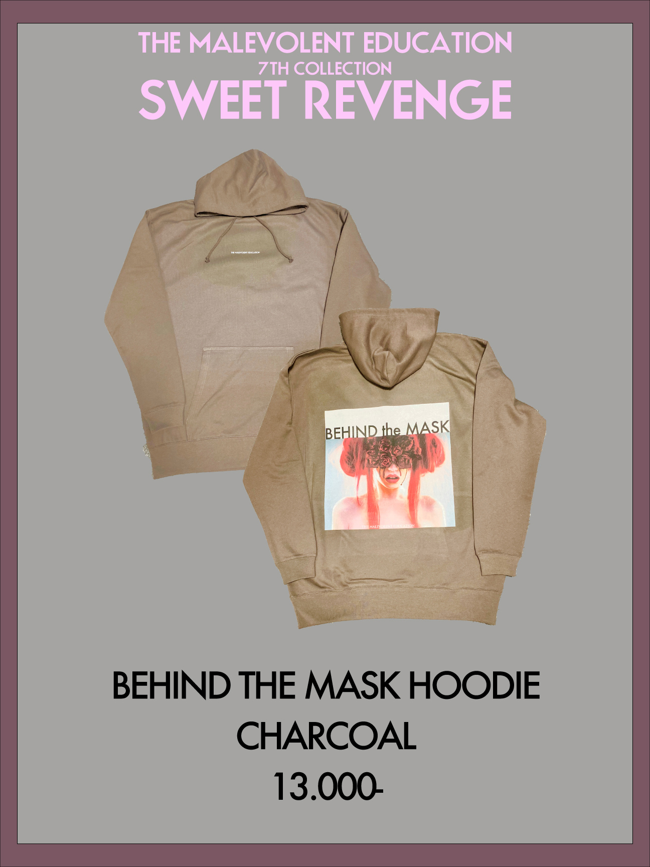 BEHIND THE MASK HOODIE (CHACOAL)